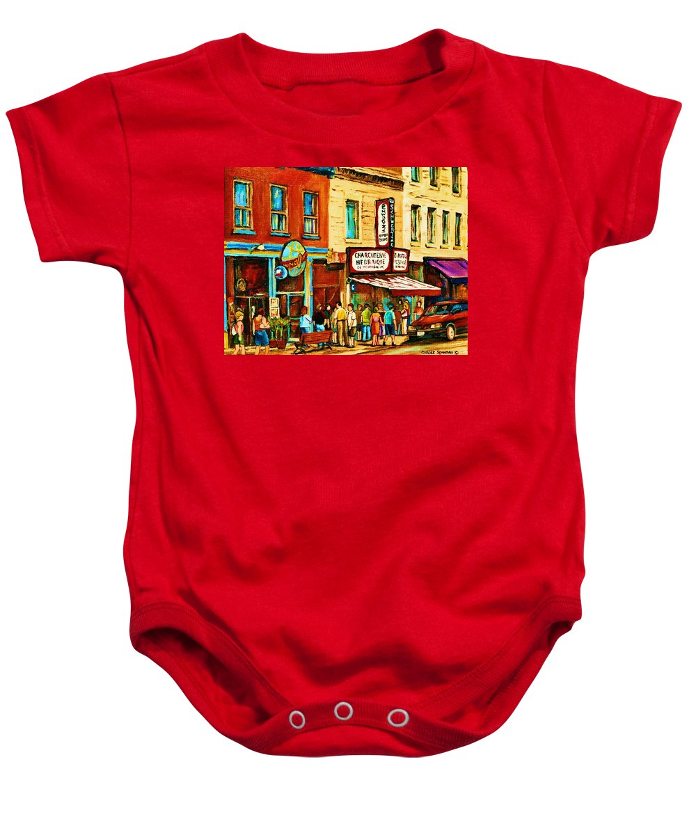 Montreal Baby Onesie featuring the painting Montreal Streetscene Artist Carole Spandau Paints Schwartzs Main Street Hustle Bustle by Carole Spandau