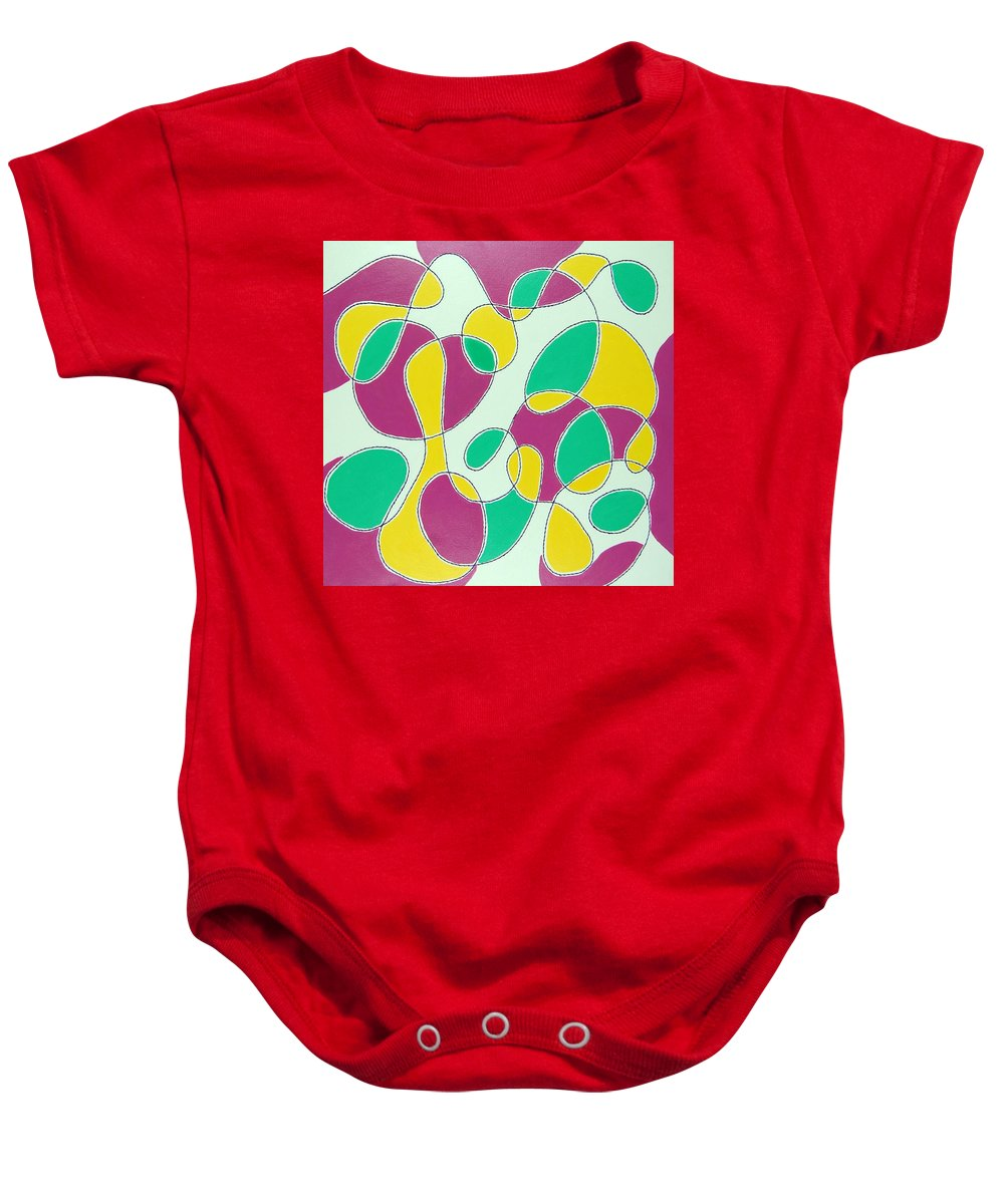 Abstract Baby Onesie featuring the mixed media Mood by Rita Lulay Malsch