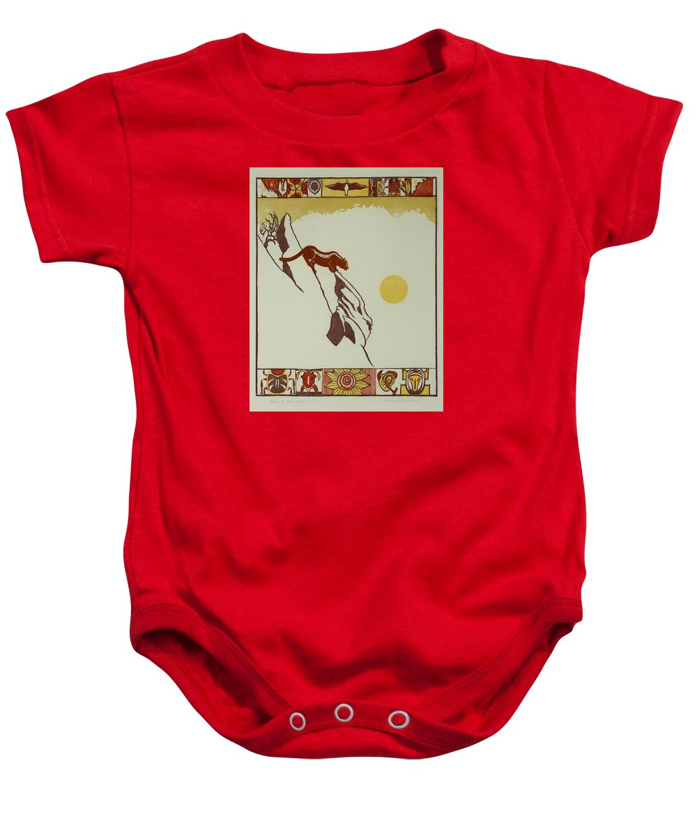 Nature Baby Onesie featuring the drawing Moon Of Red Chokecherries by Dawn Senior-Trask