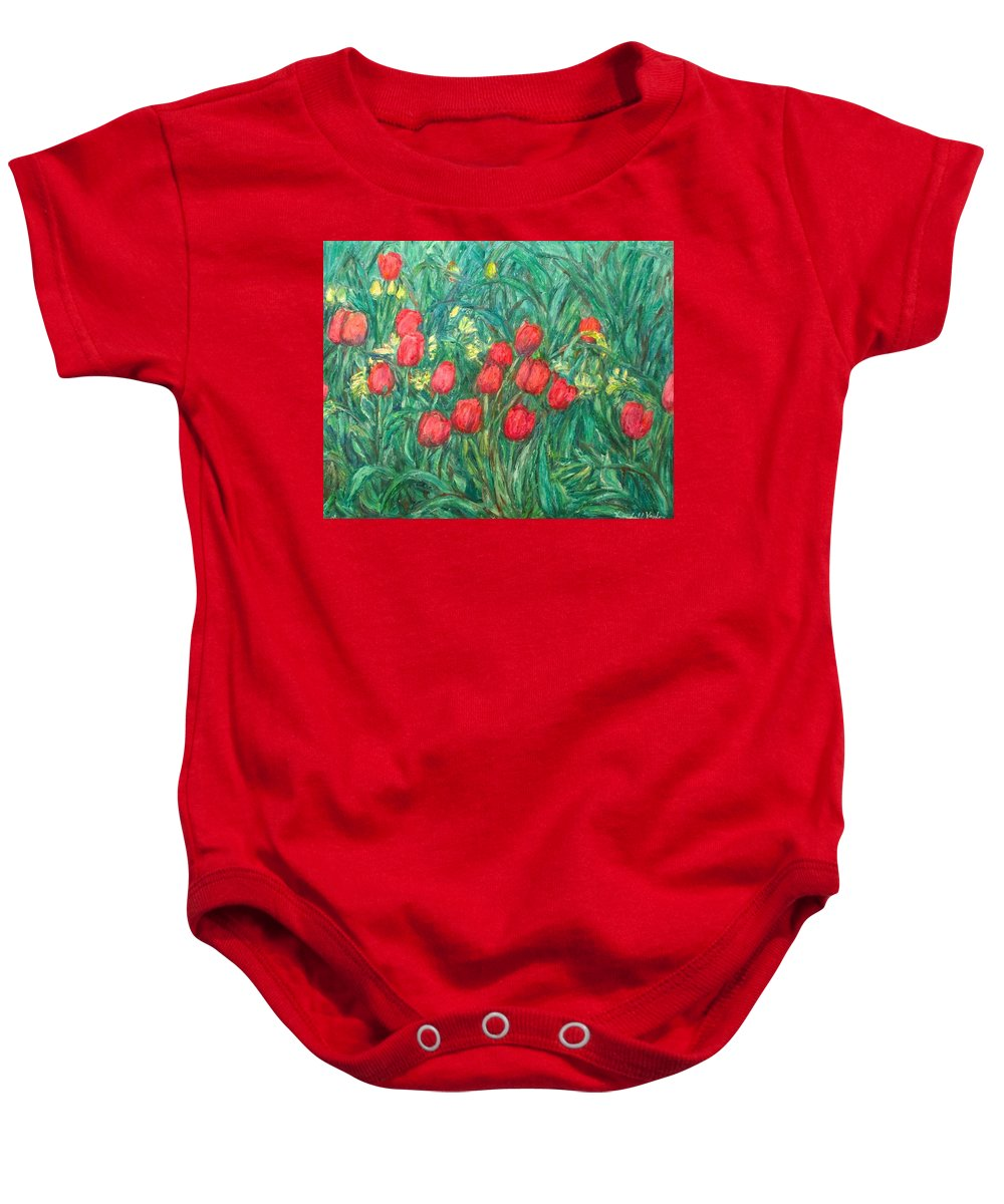 Kendall Kessler Baby Onesie featuring the painting Mostly Tulips by Kendall Kessler