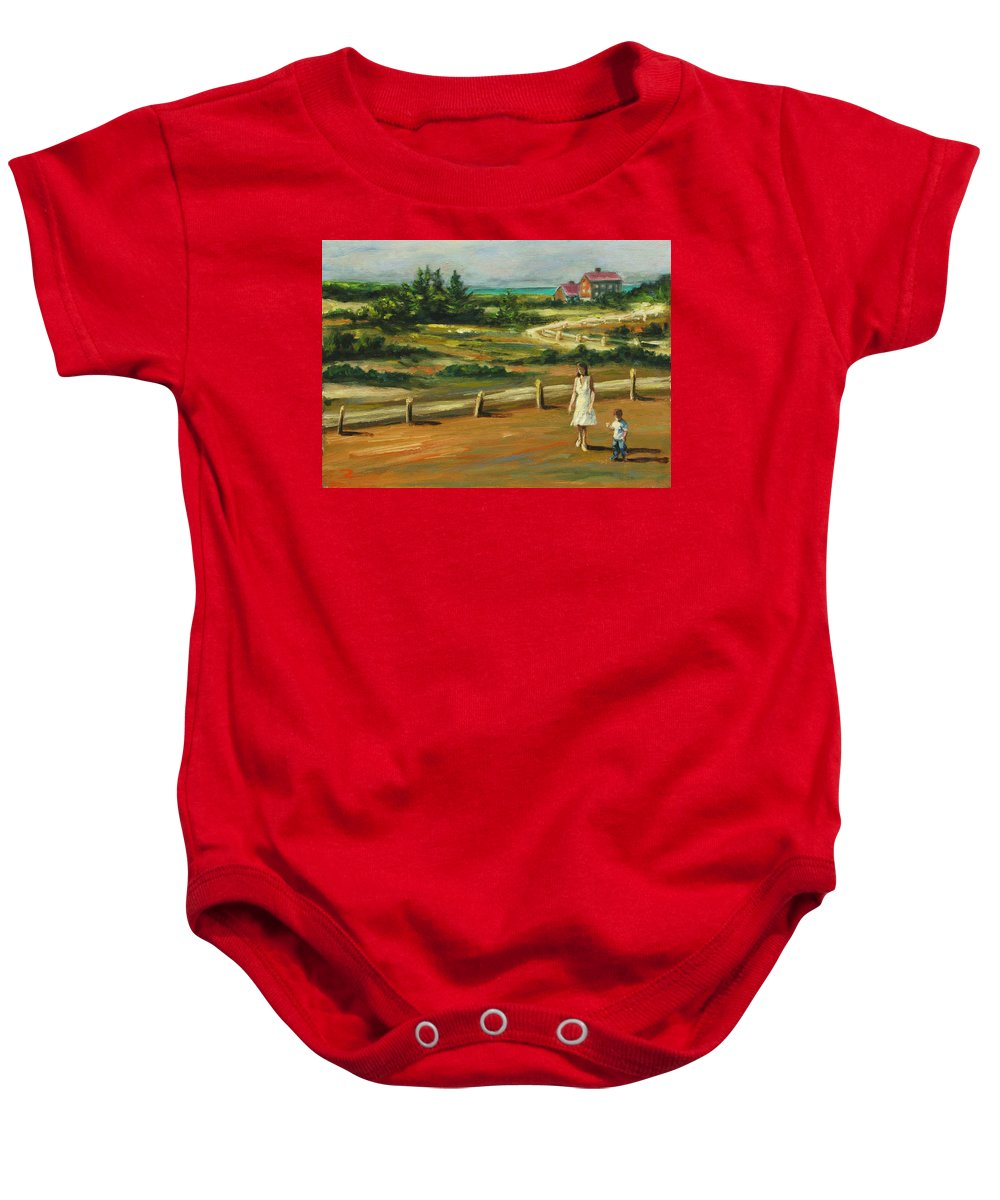 Family Baby Onesie featuring the painting Mother And Child by Rick Nederlof