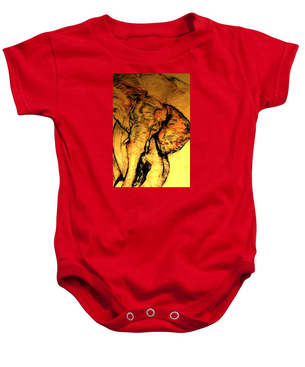 Pastel; African Wildlife; African Elephant; Wildlife Baby Onesie featuring the drawing Moving Elephant by Arlene Rabinowitz