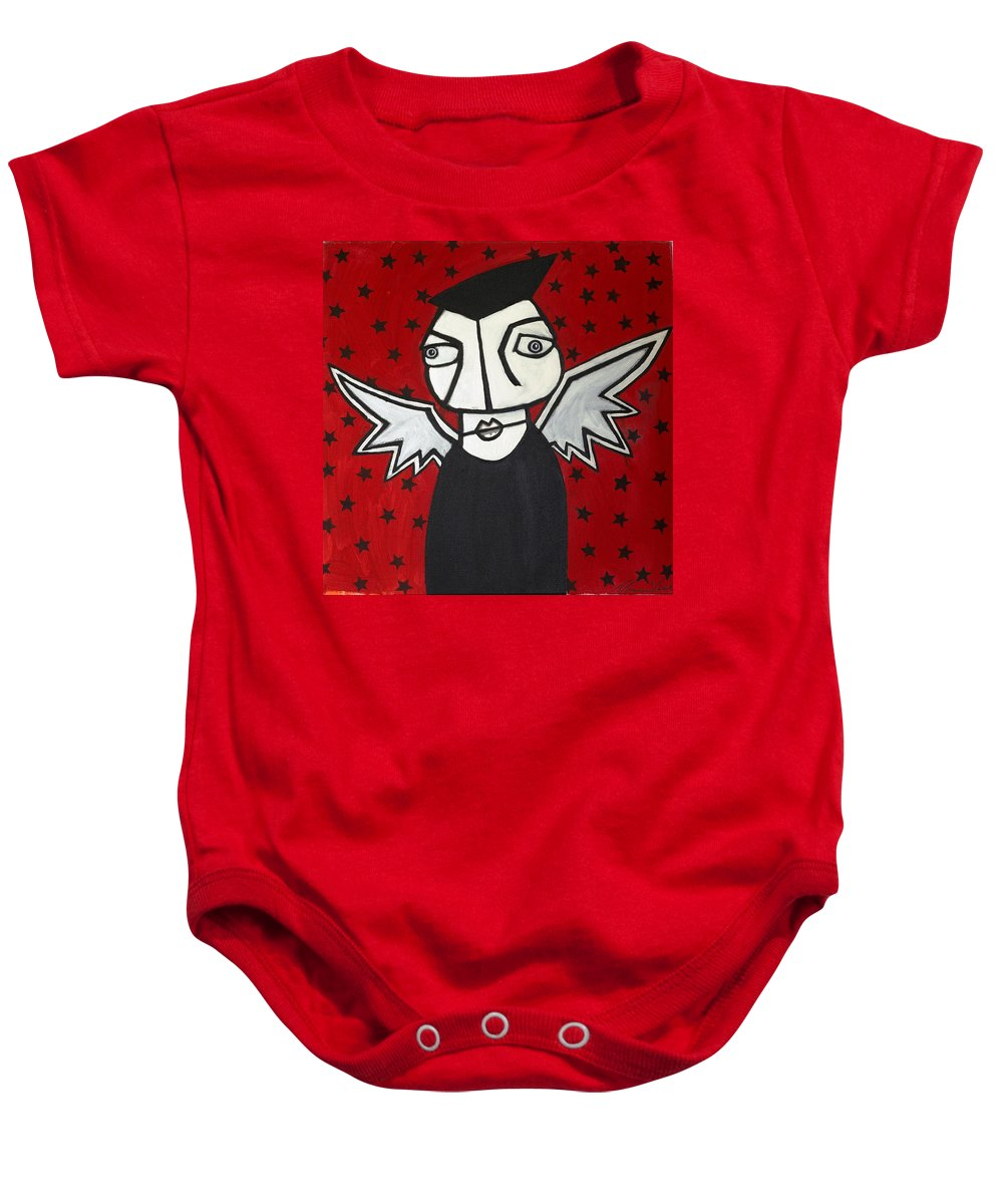 Clay Baby Onesie featuring the painting Mr.creepy by Thomas Valentine