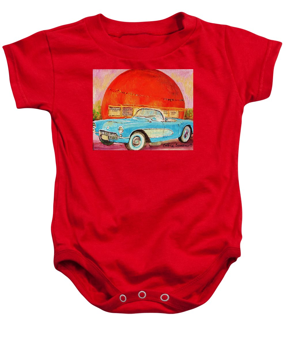 Montreal Baby Onesie featuring the painting My Blue Corvette At The Orange Julep by Carole Spandau