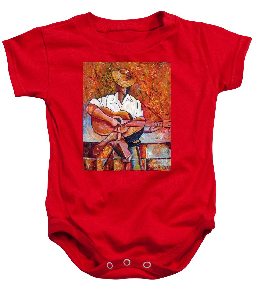 Cuba Art Baby Onesie featuring the painting My Guitar by Jose Manuel Abraham
