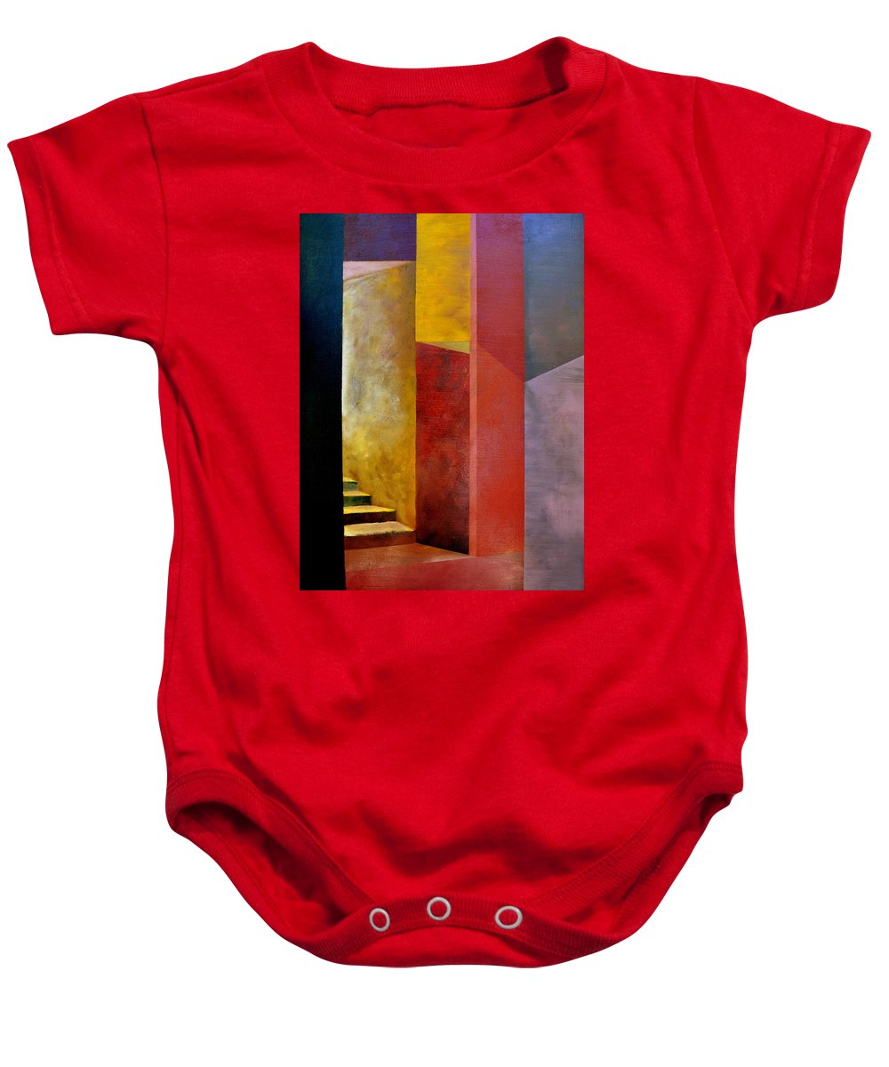 Gold Baby Onesie featuring the painting Mystery Stairway by Michelle Calkins