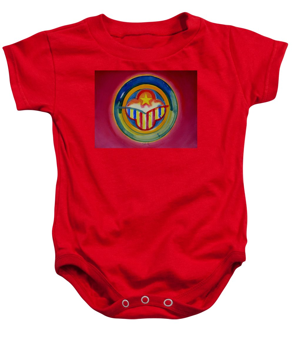 Button Baby Onesie featuring the painting Native American by Charles Stuart