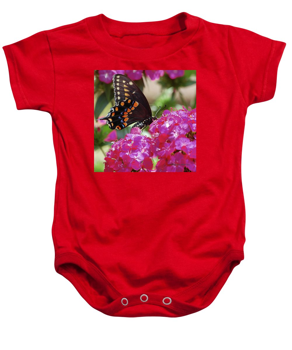 Butterfly Baby Onesie featuring the digital art Nectar Of Pink Passion by DigiArt Diaries by Vicky B Fuller