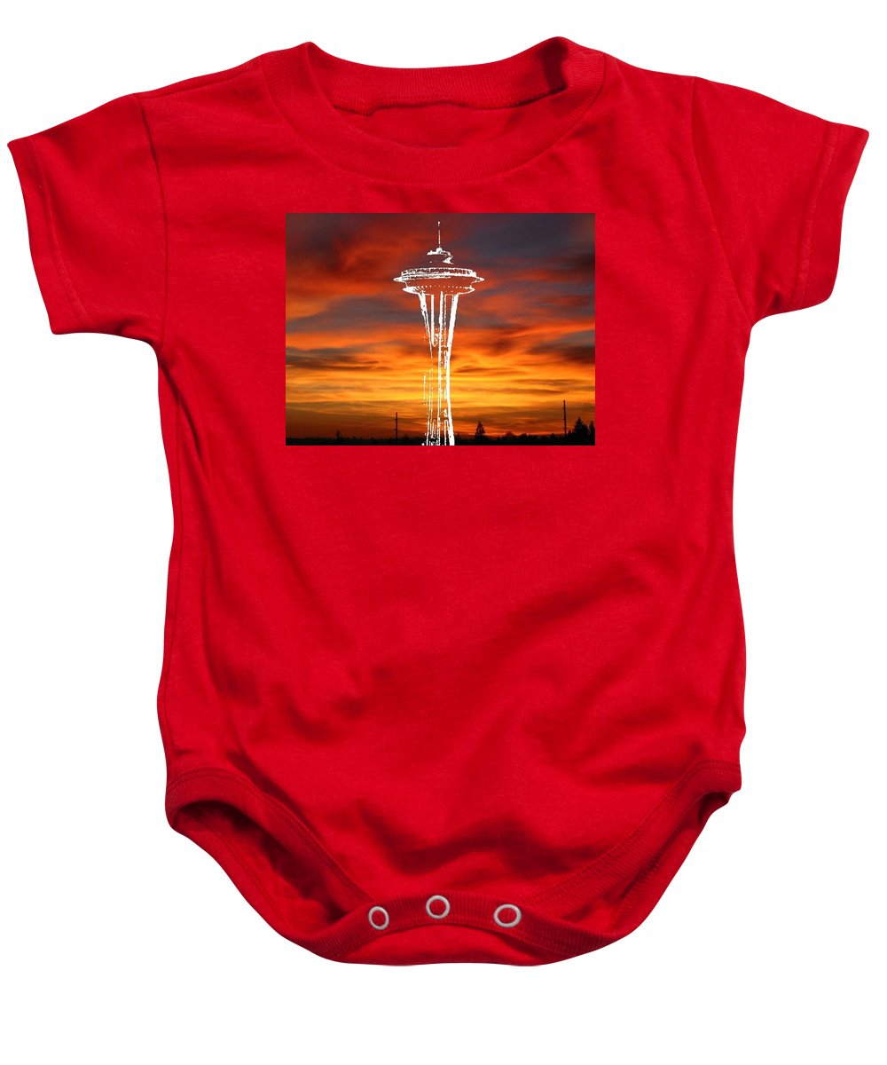Seattle Baby Onesie featuring the digital art Needle Silhouette by Tim Allen