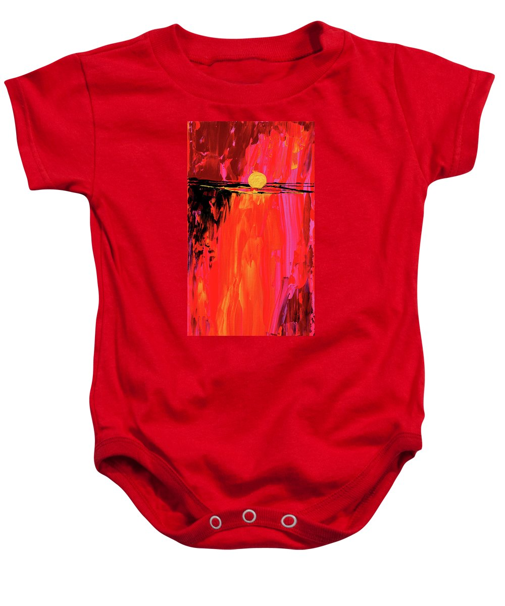 Sunrise Baby Onesie featuring the painting New Beginnings by Donna Blackhall