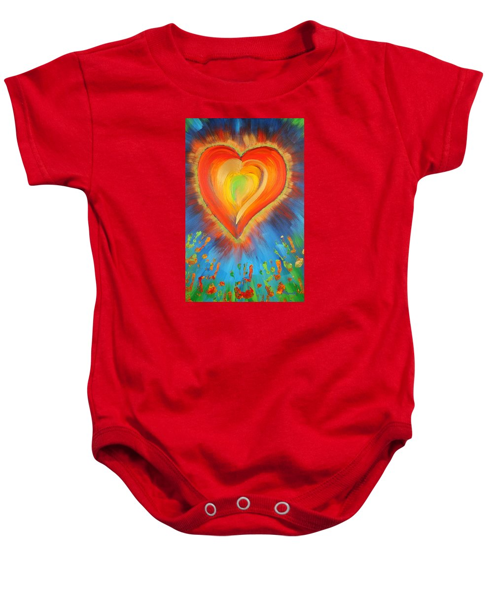 Heart Baby Onesie featuring the painting New Heart by Gary Rowell