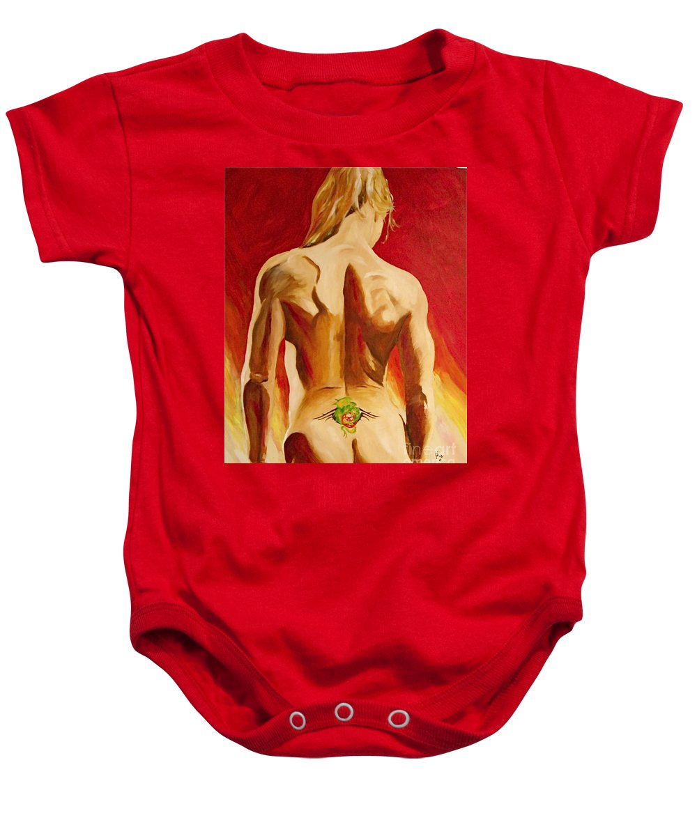 Nude Tatto Red Hot Baby Onesie featuring the painting New Tattoo by Herschel Fall