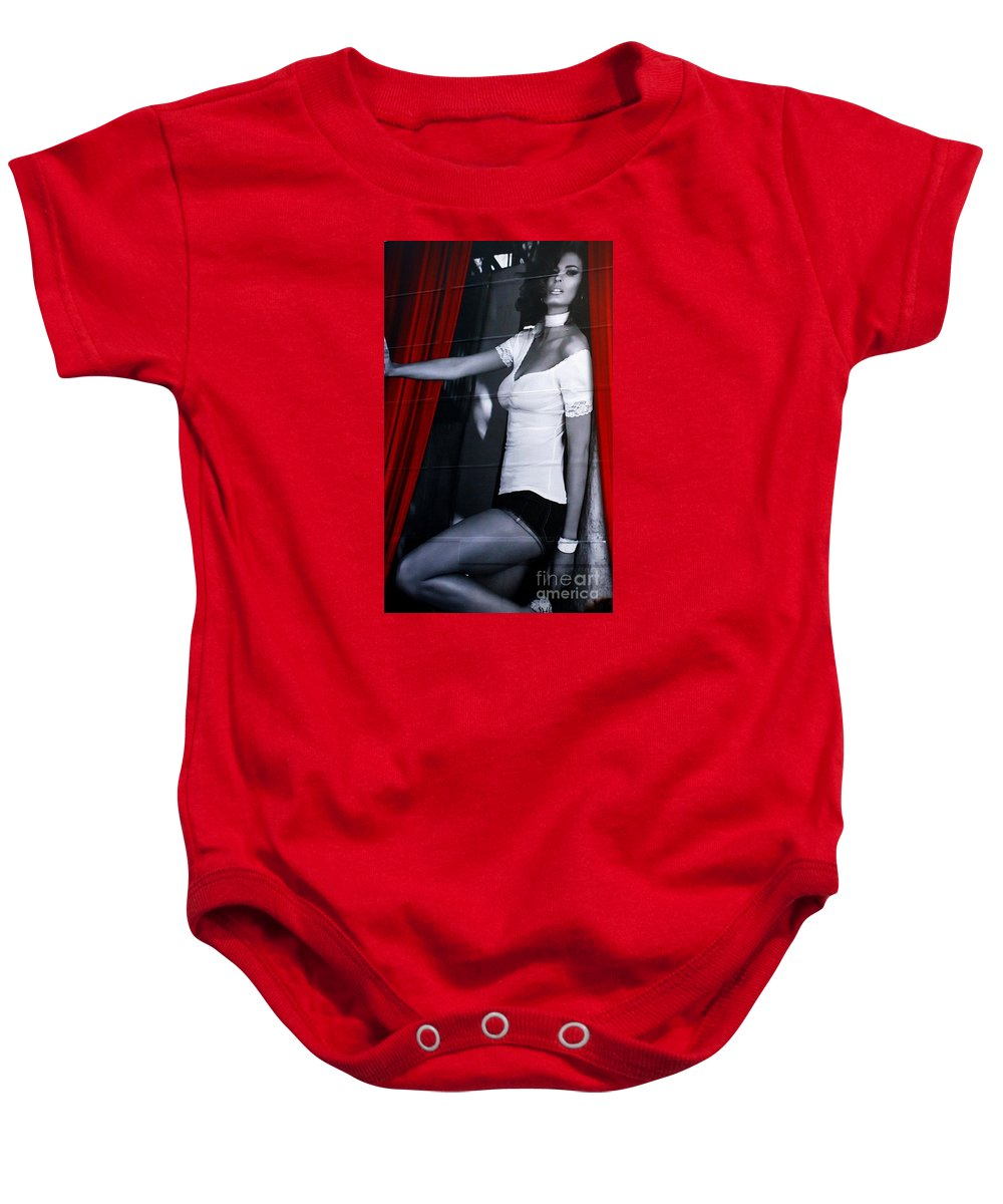Commercialism Baby Onesie featuring the photograph New York Building Ad by Marcia Lee Jones