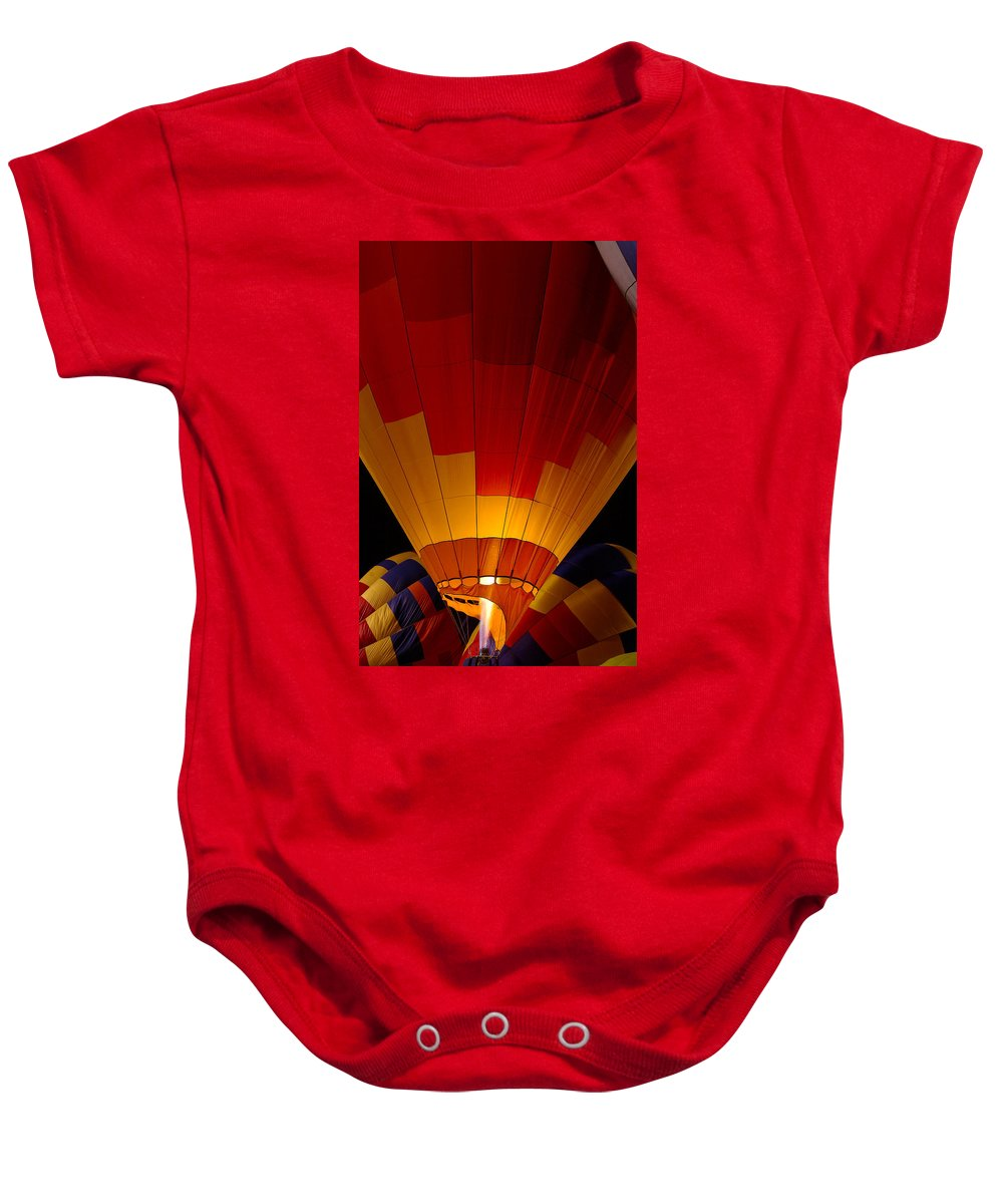 Balloon Baby Onesie featuring the photograph Night Flight by Mike Dawson