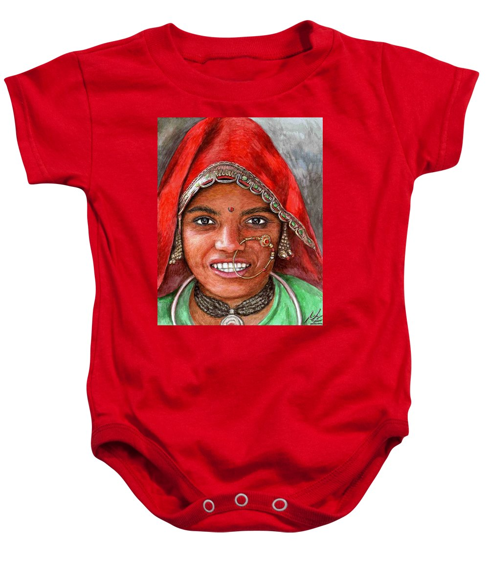 Woma Baby Onesie featuring the painting Northindian Woman by Nicole Zeug