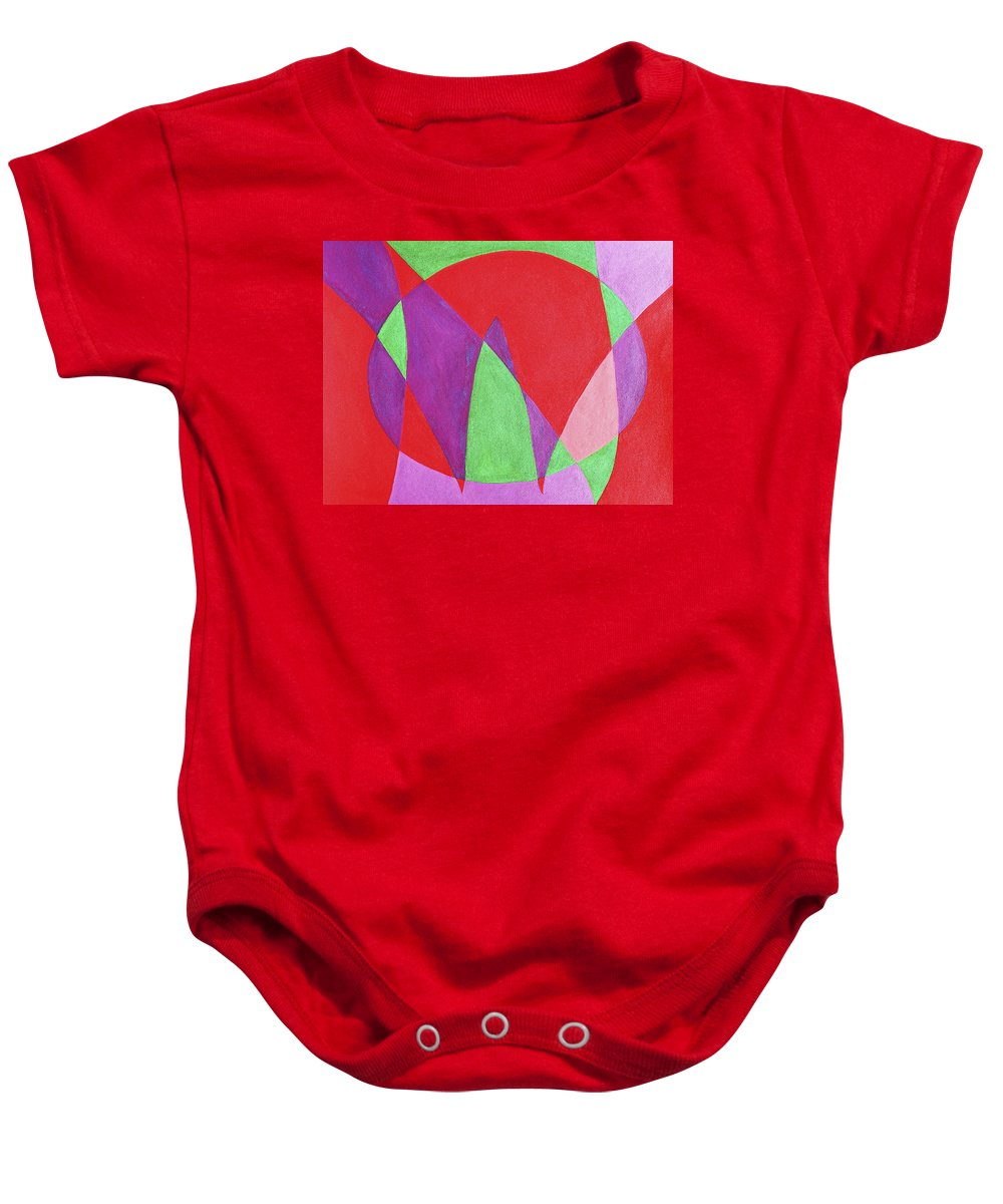 Abstract Baby Onesie featuring the painting Now In Abstract Text Art by Lee Serenethos