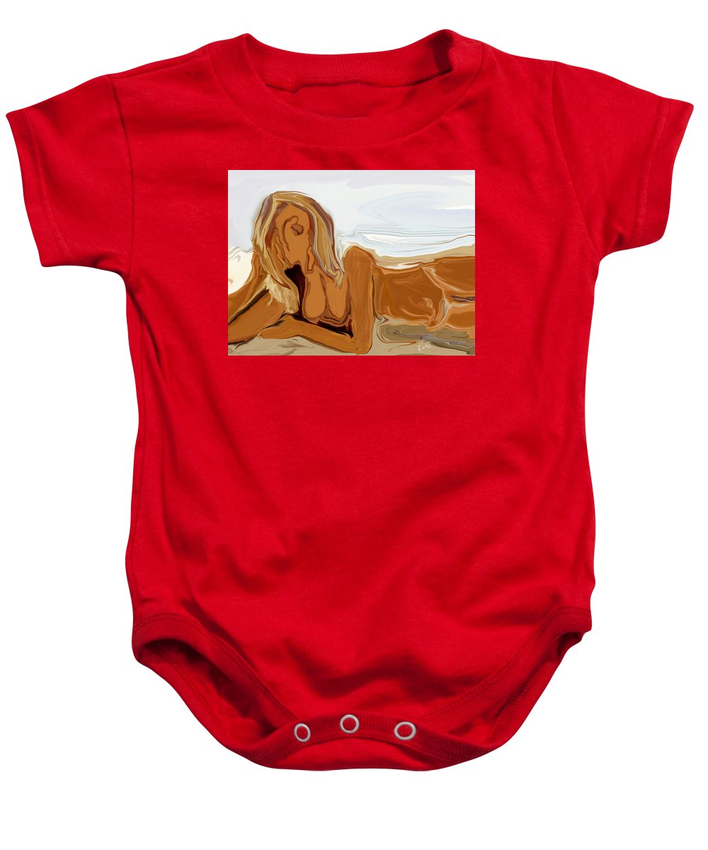 Abstract Baby Onesie featuring the digital art Nude On The Beach by Rabi Khan