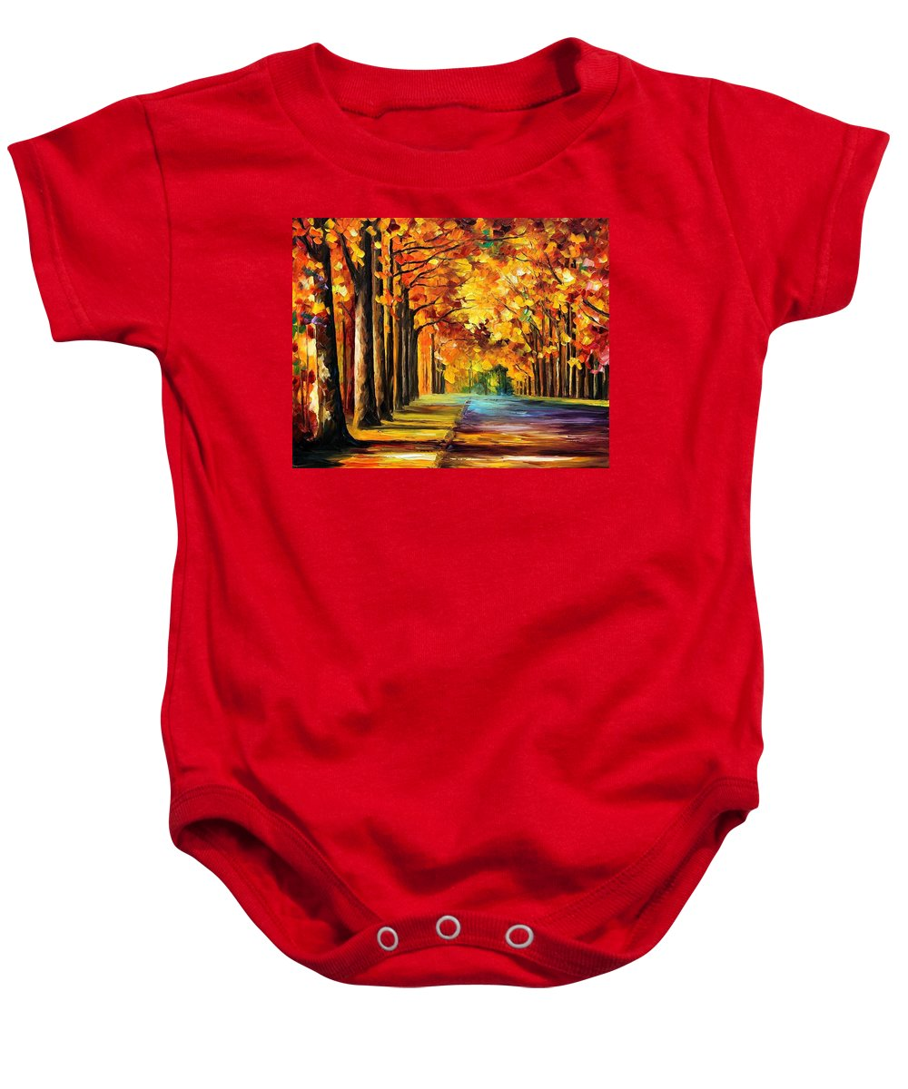 Afremov Baby Onesie featuring the painting Oak Alley by Leonid Afremov