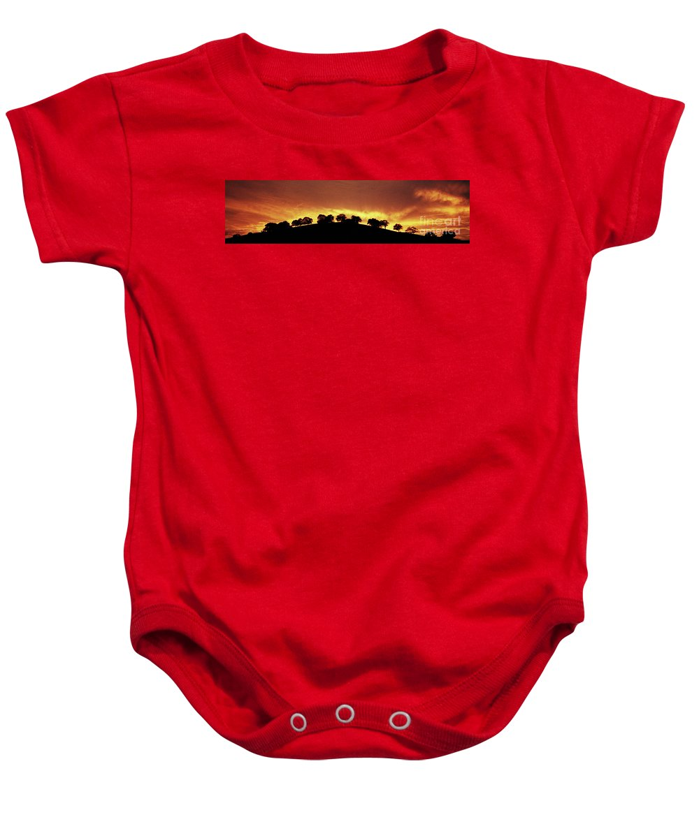 Oak Baby Onesie featuring the photograph Oaks On Hill At Sunset by Jim And Emily Bush