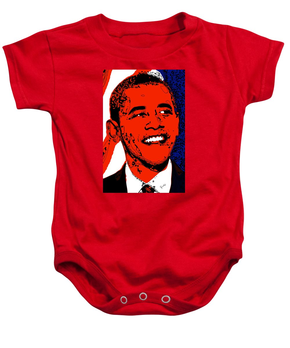 African Baby Onesie featuring the digital art Obama Hope by Rabi Khan