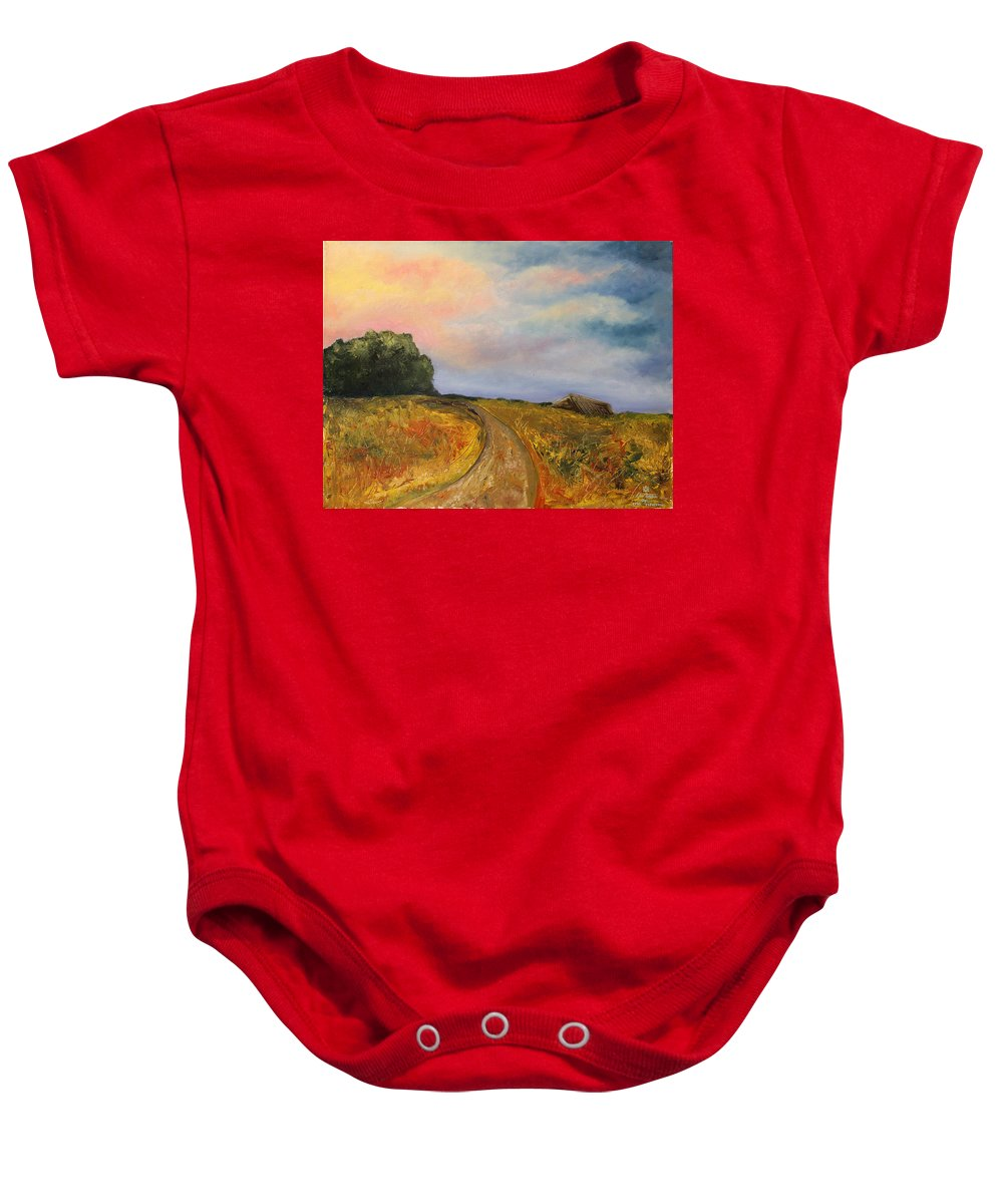 Landscape Baby Onesie featuring the painting Obviously Covered by Darko Topalski