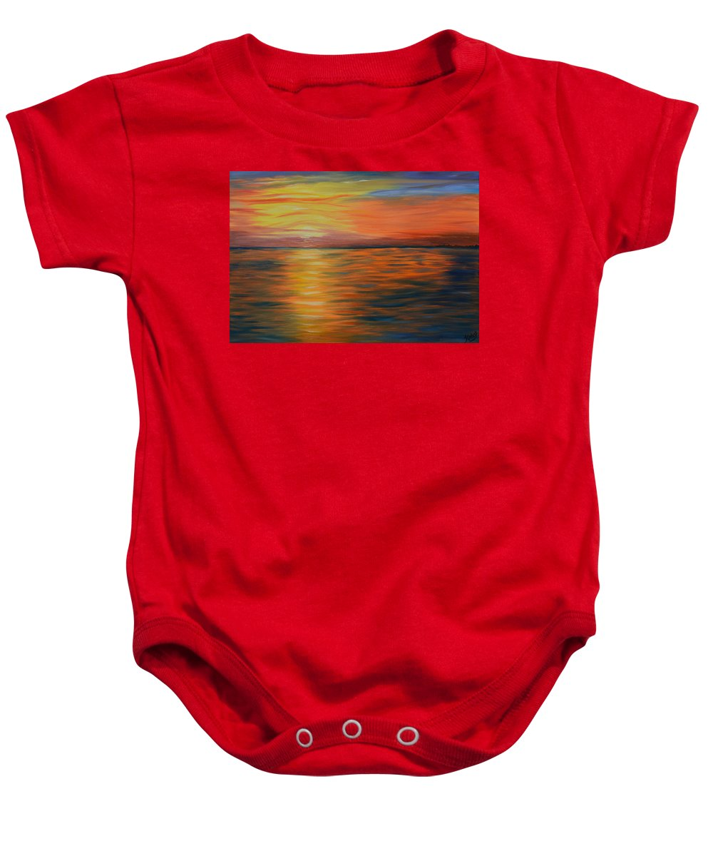 Ocean Painting   Ocean Sunset   Oil Painting   Abstract Art   Impressionism   Contemporary Art   Kathy Symonds   Colorado Artist   Artbykatsy Baby Onesie featuring the painting Ocean Sunrise- Oil Painting- Abstract Art by Kathy Symonds