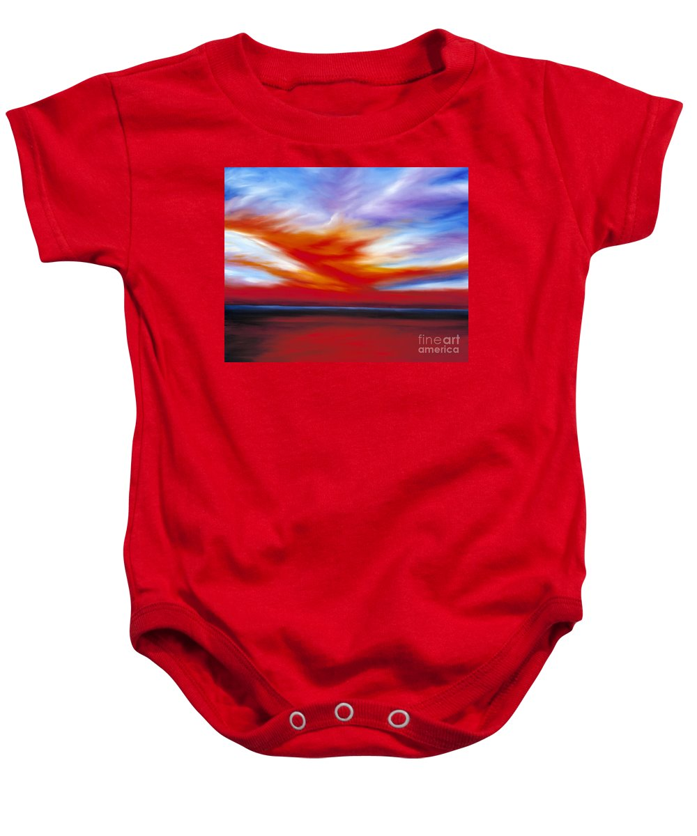 Seascape Baby Onesie featuring the painting October Sky II by James Christopher Hill
