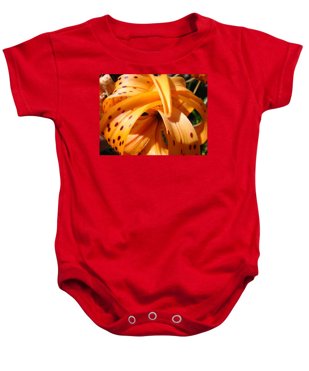 Lilies Baby Onesie featuring the photograph Office Art Floral Artwork Orange Tiger Lily Baslee Troutman by Baslee Troutman