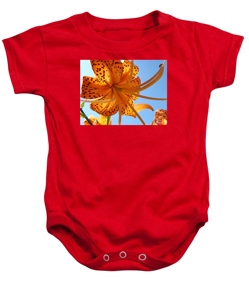 Lilies Baby Onesie featuring the photograph Office Artwork Tiger Lily Flowers Art Prints Baslee Troutman by Baslee Troutman