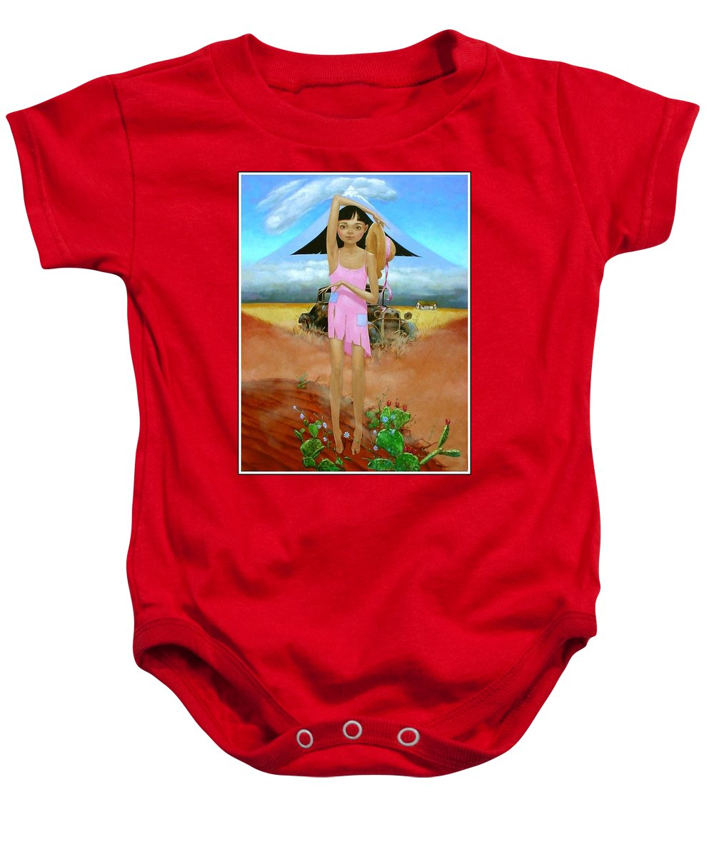Country Girl Baby Onesie featuring the painting Oklahoma Girl With Mt.fuji by Jerrold Carton