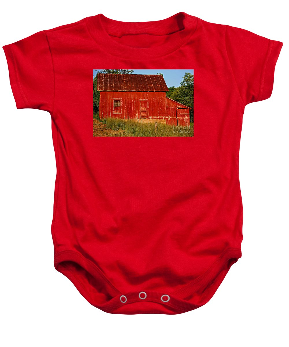 Barn Baby Onesie featuring the photograph Ol' Red Barn by Eric Liller