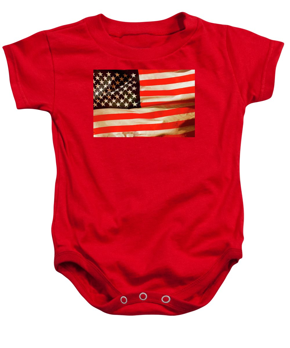 Old Baby Onesie featuring the photograph Old Glory Flag In Breeze by Phill Petrovic