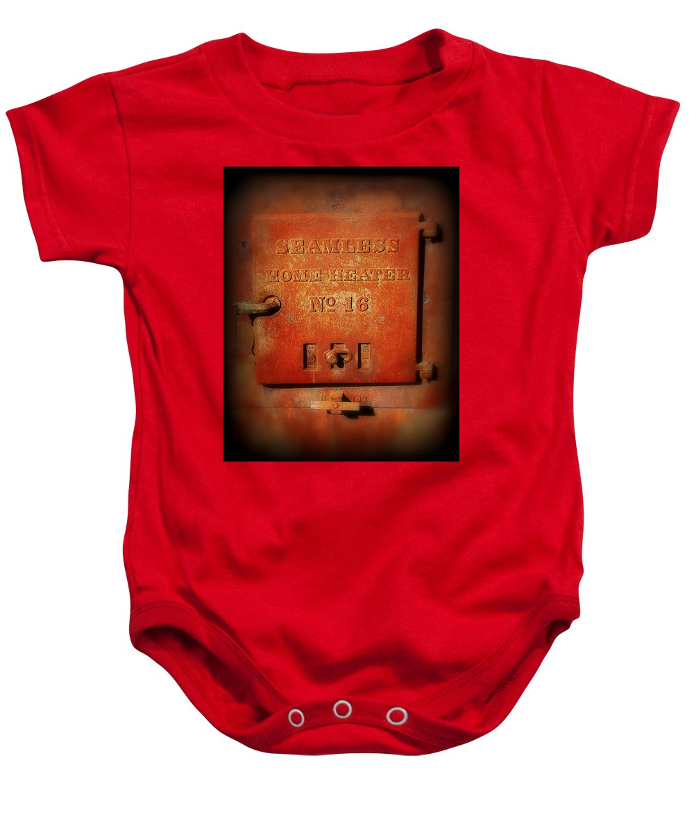 Rust Baby Onesie featuring the photograph Old Number 16 by Perry Webster