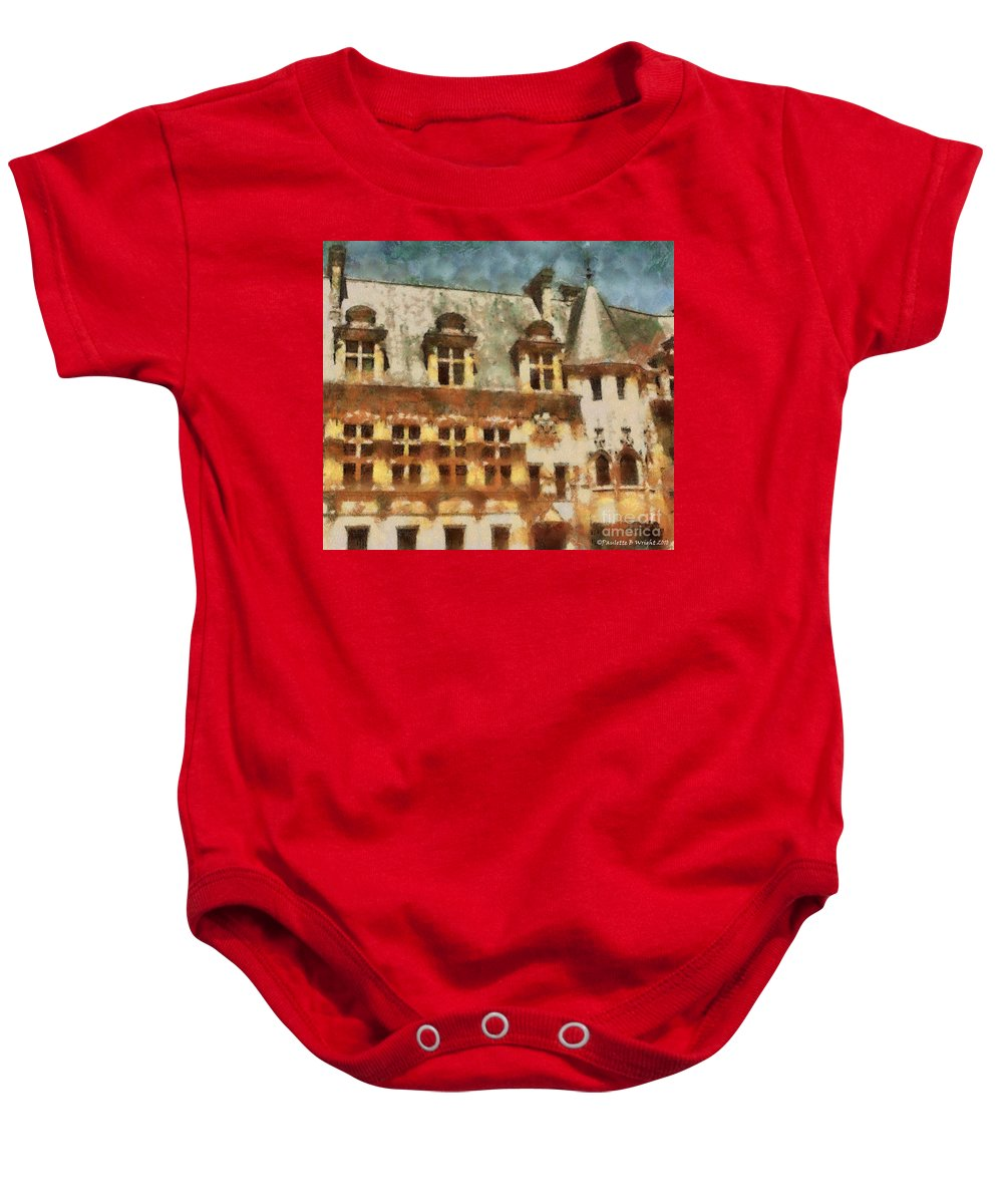 France Baby Onesie featuring the painting Old World by Paulette B Wright