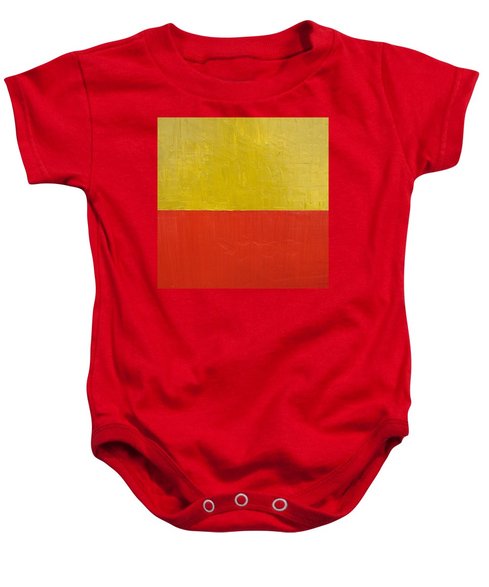 Red Baby Onesie featuring the painting Olive Fire Engine Red by Michelle Calkins