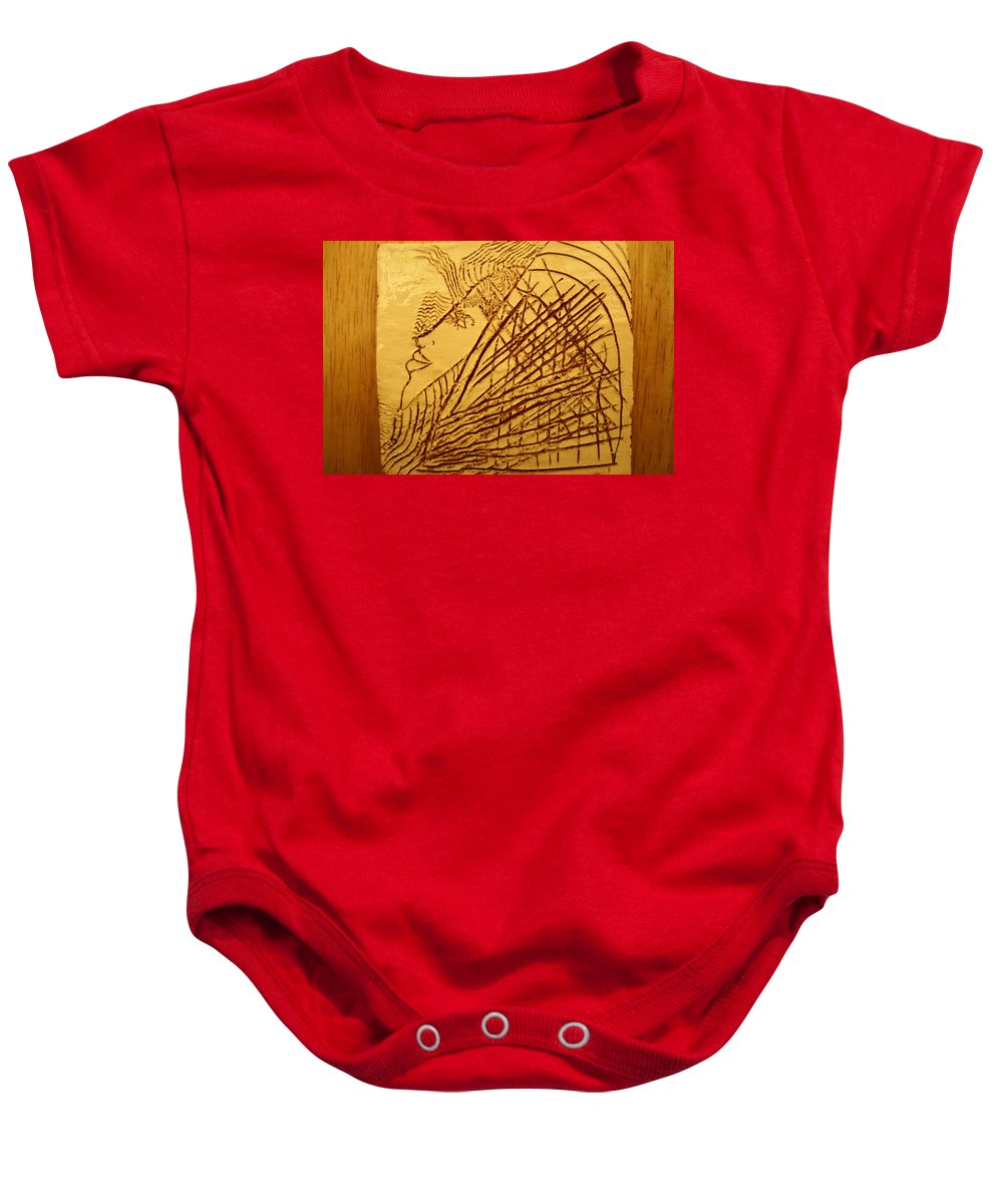 Jesus Baby Onesie featuring the ceramic art Once - Tile by Gloria Ssali