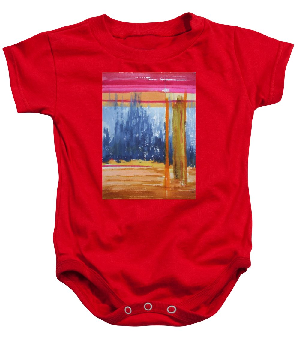 Landscape Baby Onesie featuring the painting Opening by Suzanne Udell Levinger
