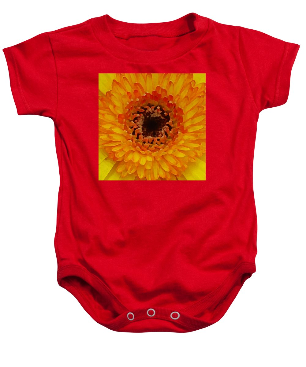 Daisy Baby Onesie featuring the painting Orange And Black Gerber Center by Amy Vangsgard