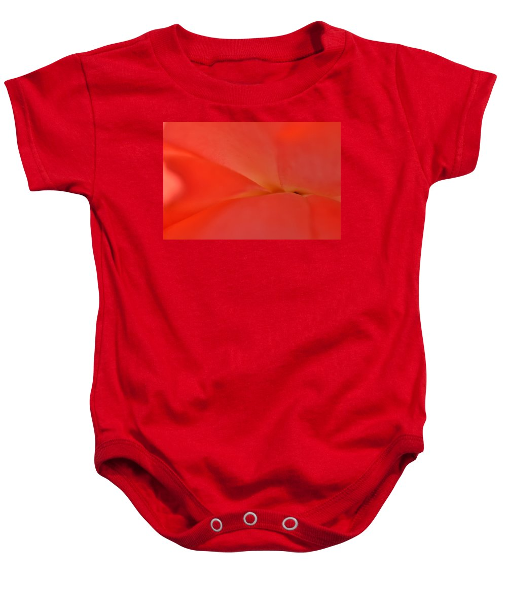 Red Baby Onesie featuring the photograph Orange Blossom 2 by Dubi Roman