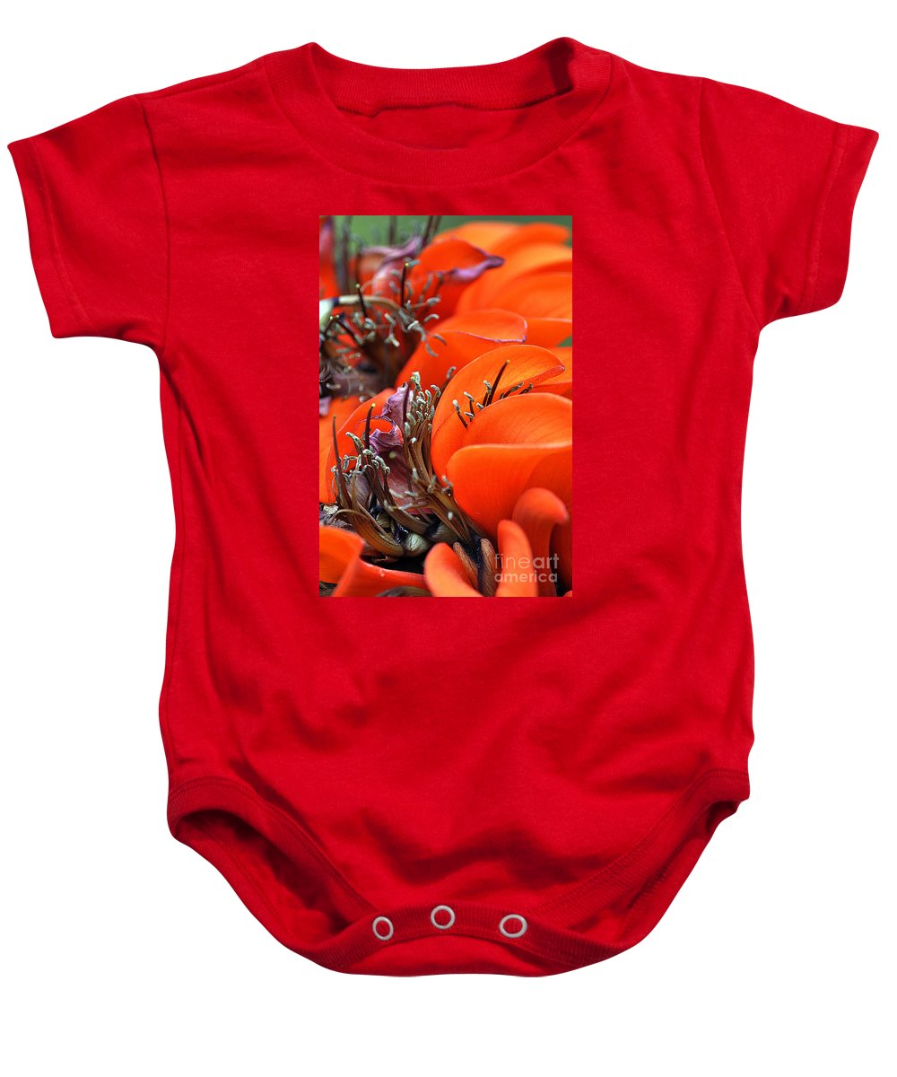 Clay Baby Onesie featuring the photograph Orange by Clayton Bruster