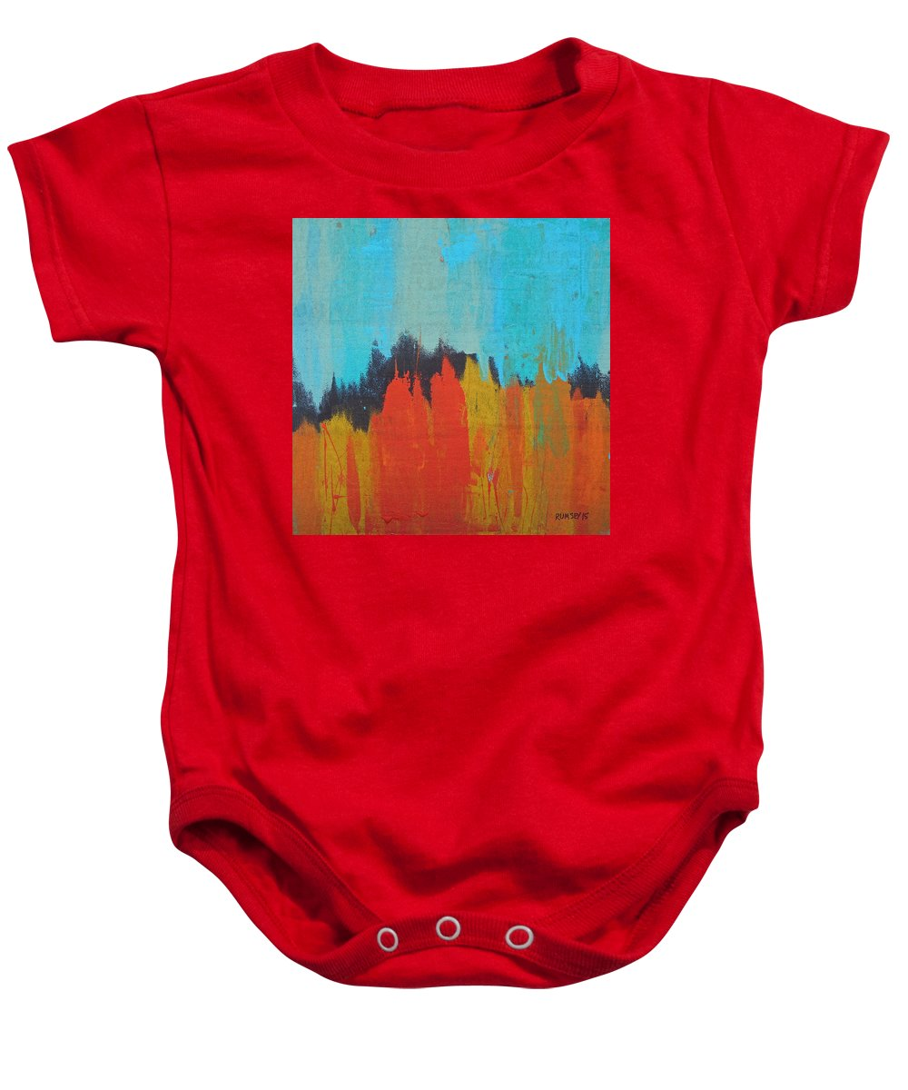 Forest Baby Onesie featuring the painting Orange Forest by Rhodes Rumsey