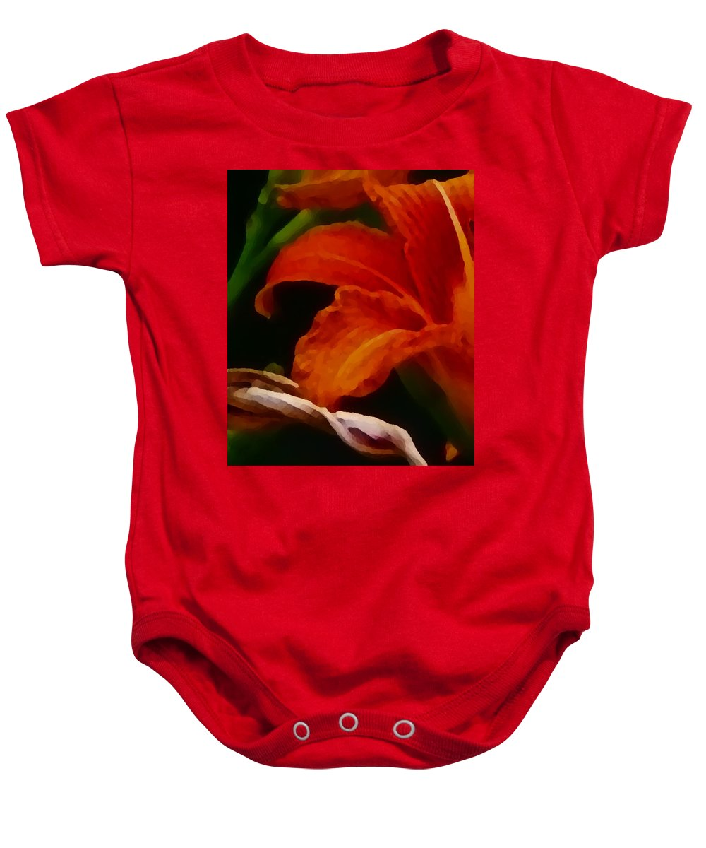 Flower Baby Onesie featuring the painting Orange Opening by Charleen Treasures