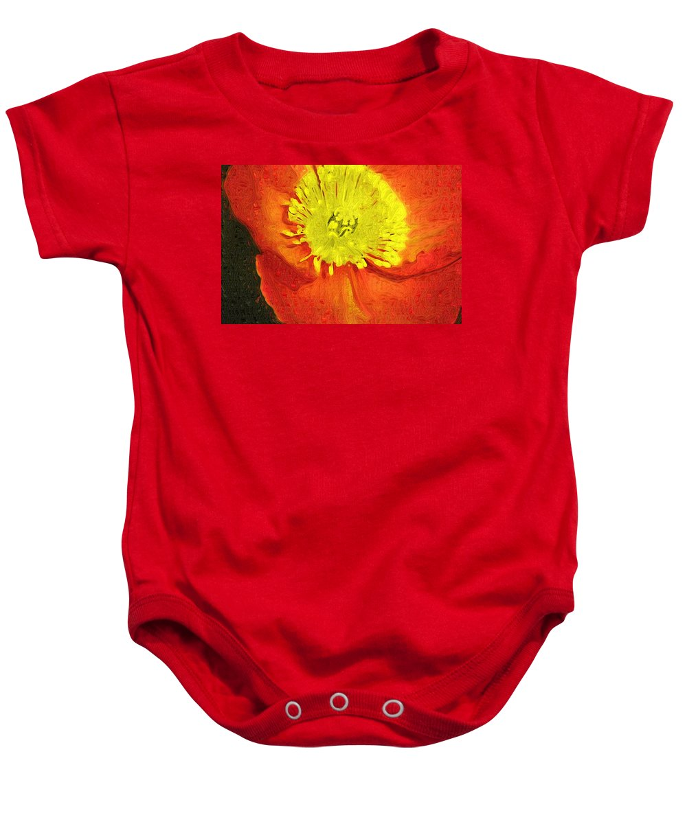 Poppy Baby Onesie featuring the photograph Orange Poppy by Donna Bentley