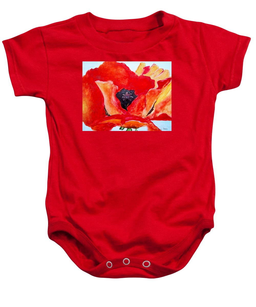 Flower Baby Onesie featuring the painting Orange Poppy by Jamie Frier