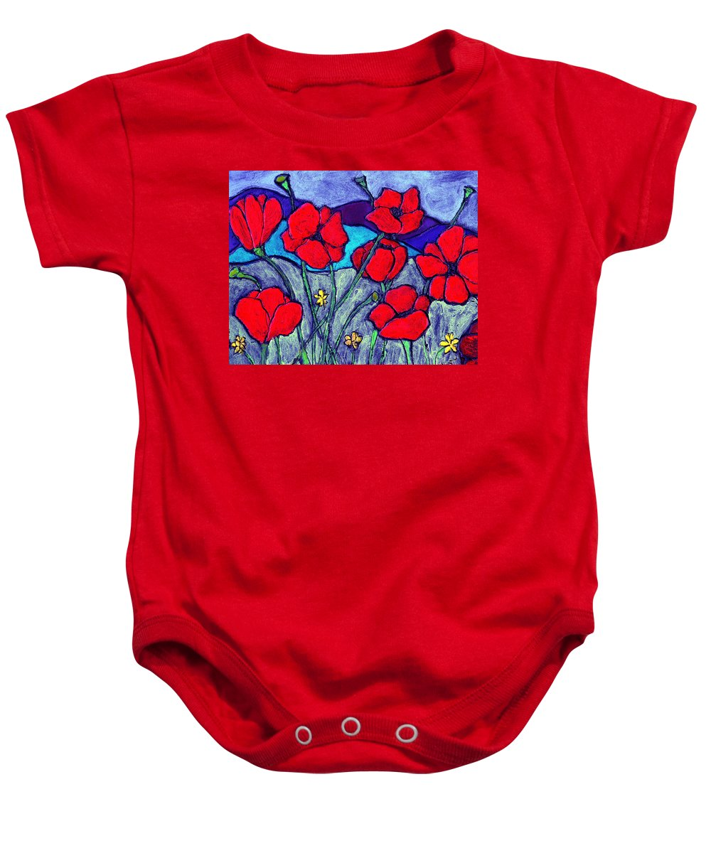Flowers Baby Onesie featuring the painting Orange Red Poppies by Wayne Potrafka