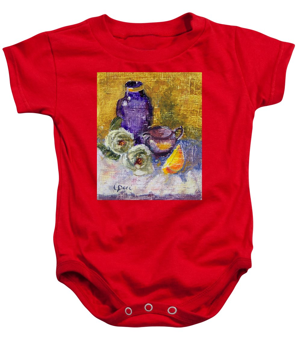 Vase Baby Onesie featuring the painting Orange Reflection by Laurie Paci