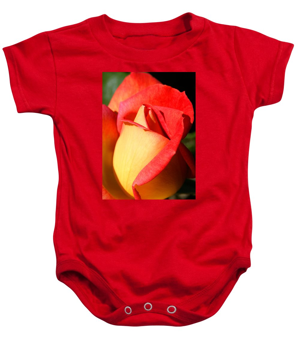 Orange Rosebud Baby Onesie featuring the photograph Orange Rosebud by Ralph A Ledergerber-Photography