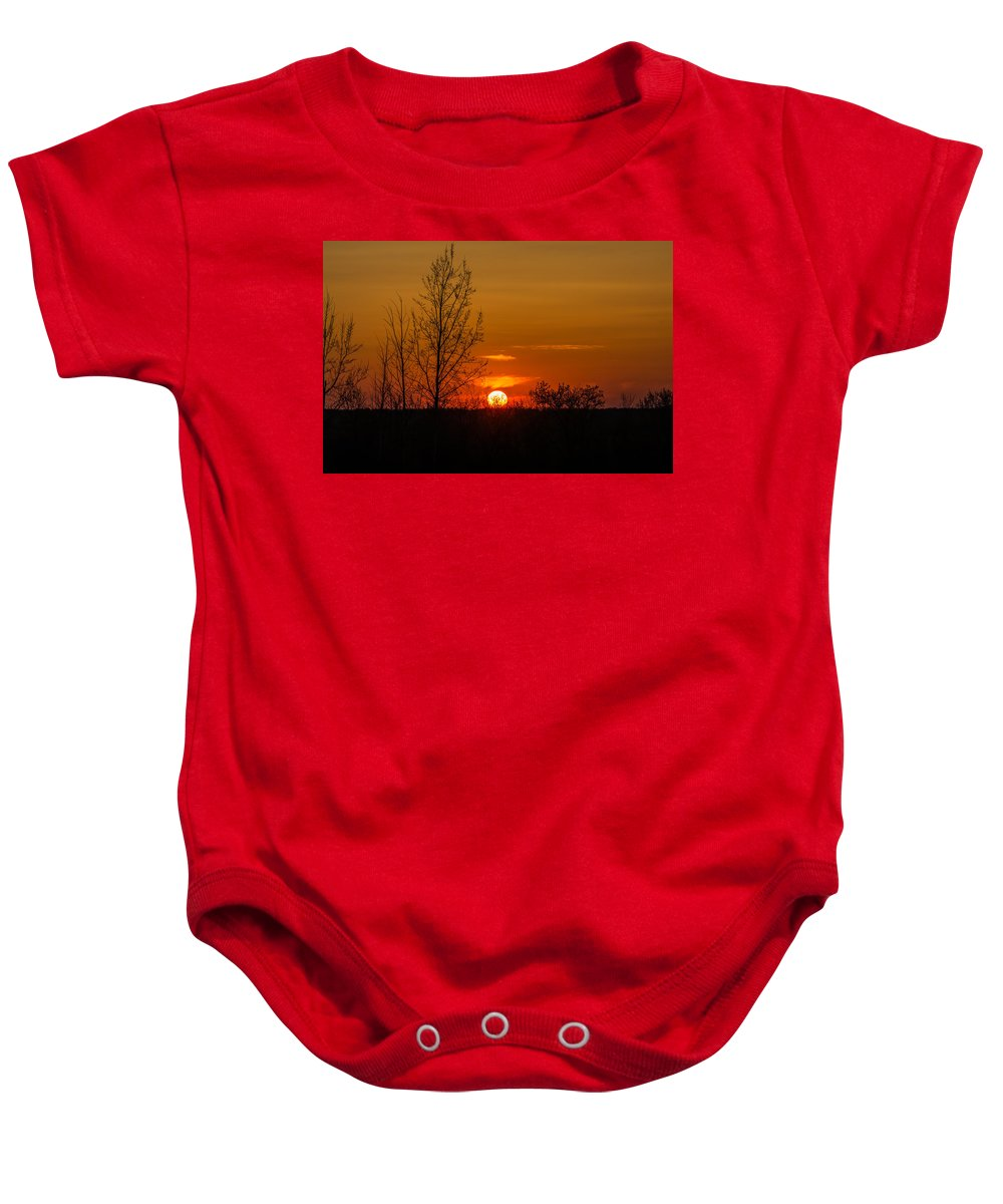 R3d Photography Baby Onesie featuring the photograph Orange Sunset Through The Trees by Ray Sheley