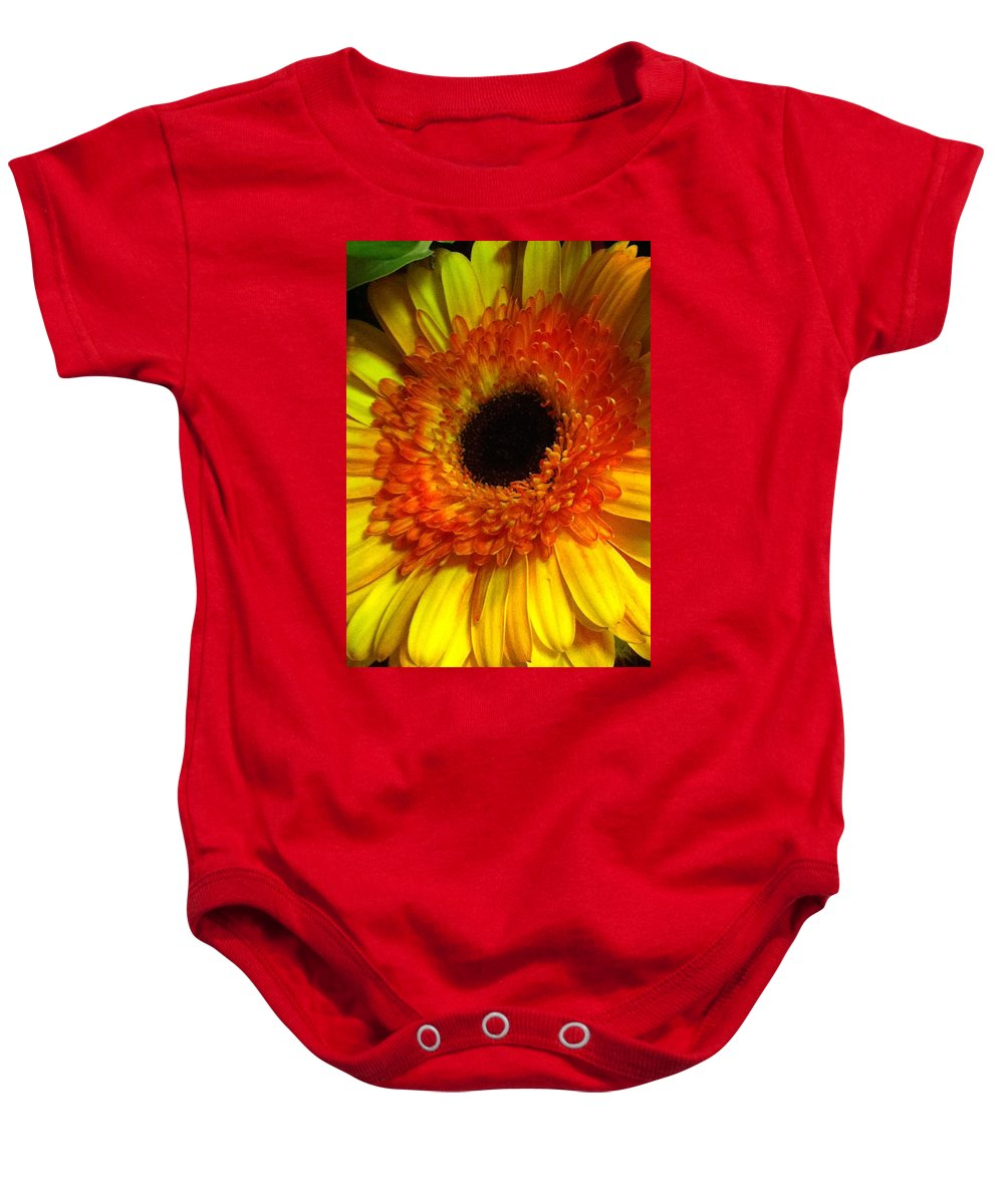Flower Baby Onesie featuring the photograph Orange-yellow by Kimberly Mohlenhoff