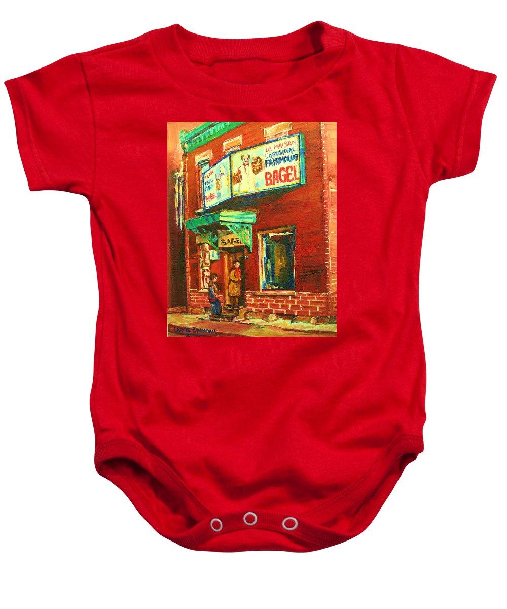Original Fairmount Bagel Baby Onesie featuring the painting Original Fairmount Bagel by Carole Spandau